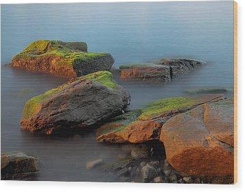 Sunkissed Rocks Wood Print