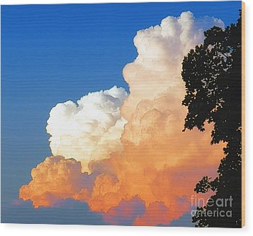 Sunkissed Storm Cloud Wood Print