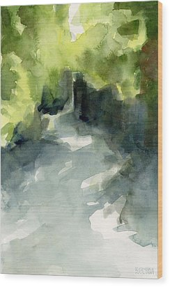Sunlight And Foliage Conservatory Garden Central Park Watercolor Painting Wood Print