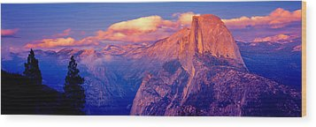 Sunlight Falling On A Mountain, Half Wood Print by Panoramic Images