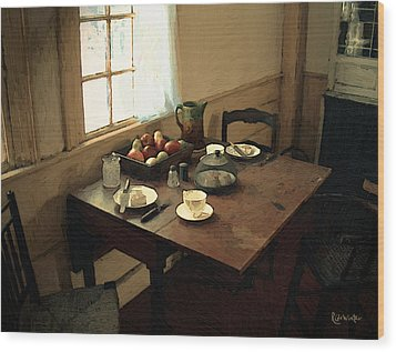 Sunlight On Dining Table Wood Print by RC deWinter