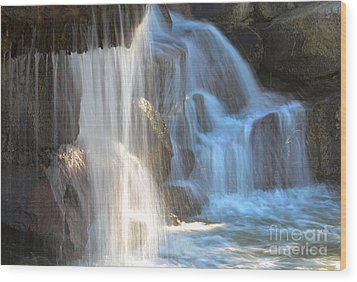 Sunlight On The Falls Wood Print