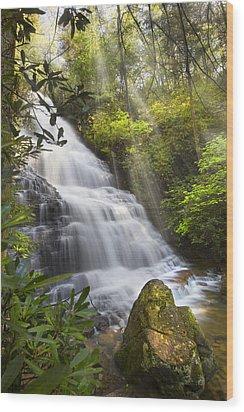 Sunlight On The Falls Wood Print by Debra and Dave Vanderlaan