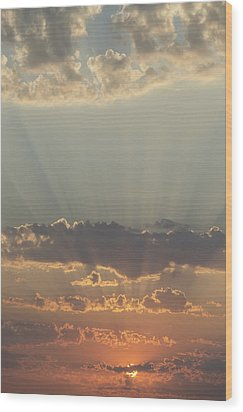 Sunlight Shining Through Clouds And Wood Print by Keith Levit