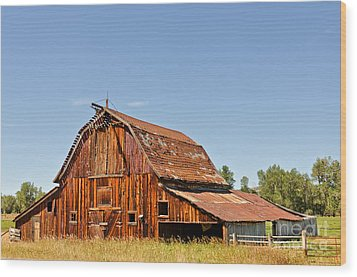 Wood Print featuring the photograph Sunlit Barn by Sue Smith