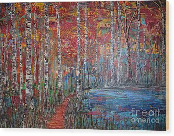 Sunlit Birch Pathway Wood Print by Jacqueline Athmann