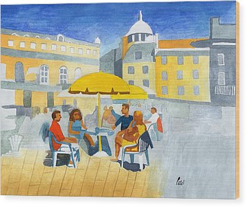 Sunlit Cafe Scene Wood Print by Bav Patel