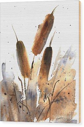 Sunlit Cattails Wood Print by Vickie Sue Cheek