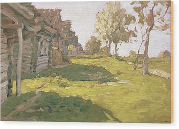 Sunlit Day  A Small Village Wood Print by Isaak Ilyich Levitan