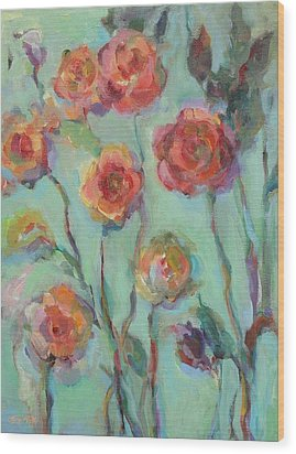 Wood Print featuring the painting Sunlit Garden by Mary Wolf