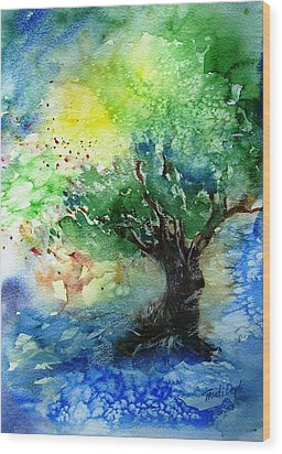 Wood Print featuring the painting Sunlit Olive Tree In Skiathos  by Trudi Doyle