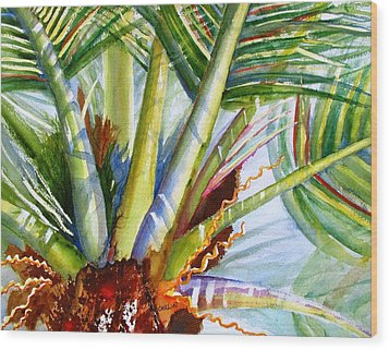 Sunlit Palm Fronds Wood Print
