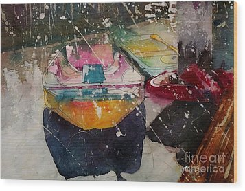 Sunlit Rowboat Wood Print