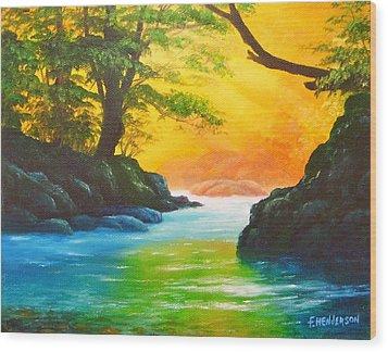 Sunlit Stream Wood Print