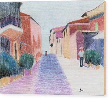 Sunlit Street Scene Wood Print by Bav Patel