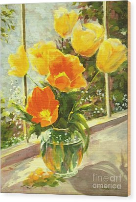 Sunlit Tulips Wood Print by Madeleine Holzberg
