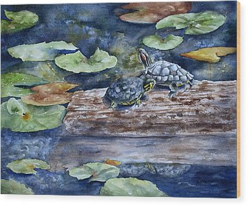Sunning Sliders Wood Print by Mary McCullah