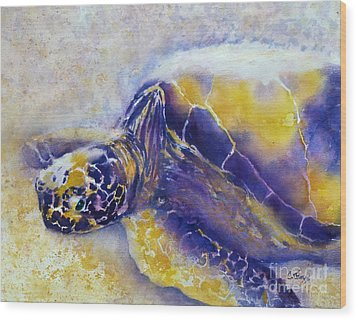 Sunning Turtle Wood Print by Carolyn Jarvis