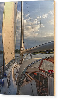 Sunny Afternoon Inland Sailing In Poland 2 Wood Print by Julis Simo
