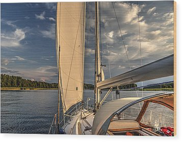 Sunny Afternoon Inland Sailing In Poland Wood Print by Julis Simo