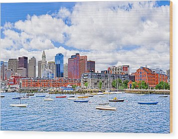 Sunny Afternoon On Boston Harbor Wood Print by Mark E Tisdale