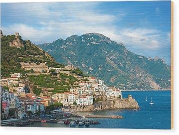 Sunny Amalfi City Wood Print