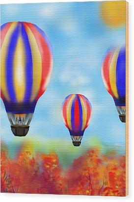 Sunny Balloon Ride Wood Print by Christine Fournier