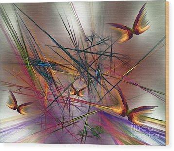 Sunny Day-abstract Art Wood Print by Karin Kuhlmann