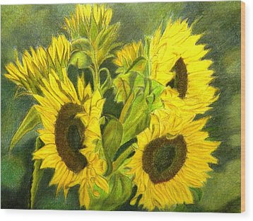 Wood Print featuring the drawing Sunny Days by Lori Ippolito