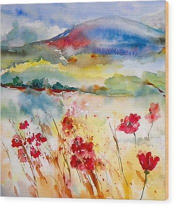 Sunny Field Wood Print by Anna Ruzsan