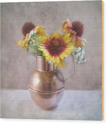 Wood Print featuring the photograph Sunny Treasure Flowers In A Copper Jug by Louise Kumpf