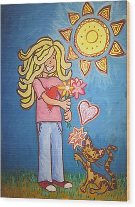 Sunny Girl Wood Print by Cherie Sexsmith