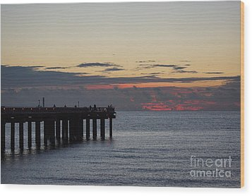Wood Print featuring the photograph Sunny Isles Fishing Pier Sunrise by Rafael Salazar