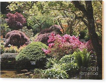 Sunny Japanese Garden Wood Print by Carol Groenen