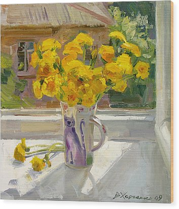 Sunny May Wood Print by Victoria Kharchenko