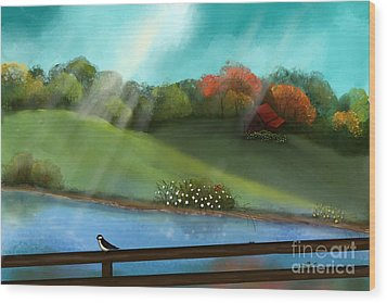 Sunny Meadow By The Water Wood Print by Nancy Long
