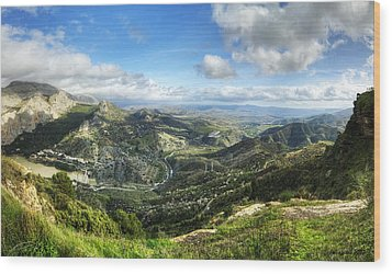 Wood Print featuring the photograph Sunny Mountains View With Picturesque Clouds by Julis Simo