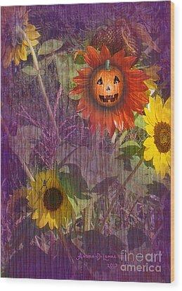 Sunny Pumpkin Wood Print by Audra D Lemke