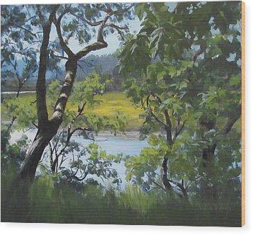 Sunny River Wood Print