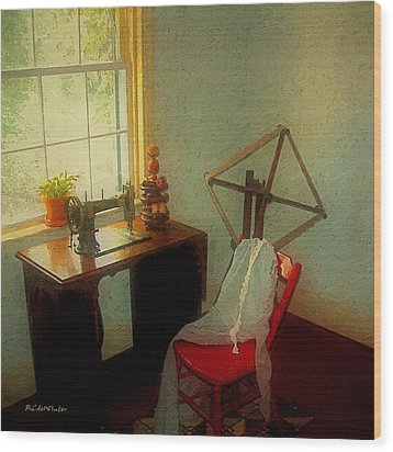 Sunny Sewing Room Wood Print by RC deWinter