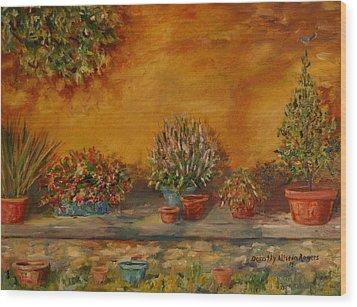Sunny Sideyard Wood Print by Dorothy Allston Rogers