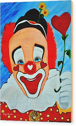 Sunny The Clown......... Wood Print by Tanya Tanski