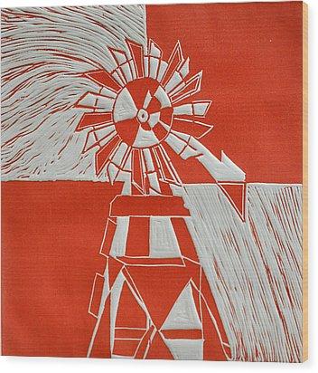 Sunny Windmill Wood Print
