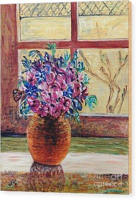 Sunny Window Ledge Wood Print by Caroline Street