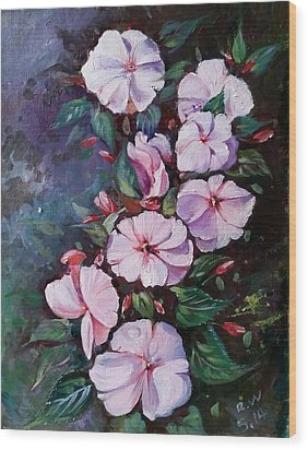 Wood Print featuring the painting Sunpatiens Flowers by Rose Wang