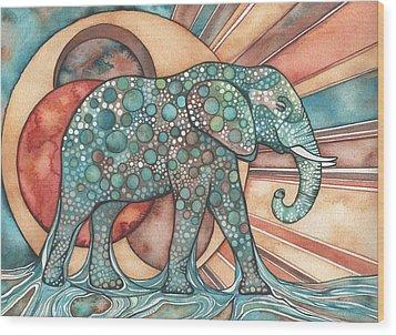 Wood Print featuring the painting Sunphant Sun Elephant by Tamara Phillips
