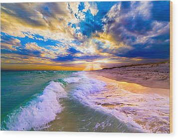 Wood Print featuring the photograph Sunrays Breaking Over Blue Sea-destin Florida Sunset by eSzra