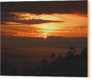 Sunrise Above The Clouds Wood Print by Evan Hendrickson