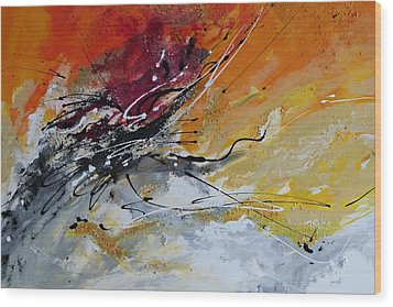 Wood Print featuring the painting Sunrise - Abstract Art by Ismeta Gruenwald