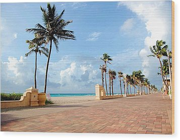 Sunrise Along The Hollywood Beach Boardwalk Wood Print by Shawn Lyte